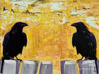 Blackbird Painting - The Gossips by Pat Saunders-White