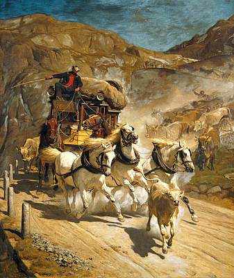The Gotthard Post Art Print by Rudolf Koller