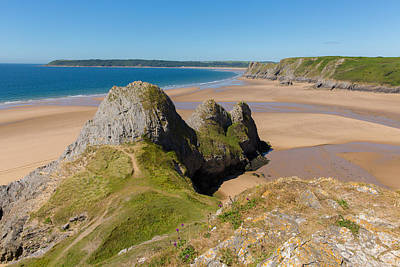 The Gower Photograph - The Gower Coast Three Cliffs Bay Wales Uk Beautiful Welsh Holiday Destination  by Michael Charles