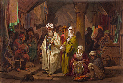 Grand Bazaar Painting - The Grand Bazaar by Amedeo Preziosi