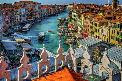 Photograph - The Grand Canal At The Rialto Bridge_dsc4415_03022017 by Greg Kluempers