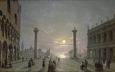 Library Painting - The Grand Canal From Piazza San Marco by Henry Pether