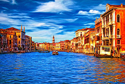 European City Digital Art - The Grand Canal Oil by Steve Harrington