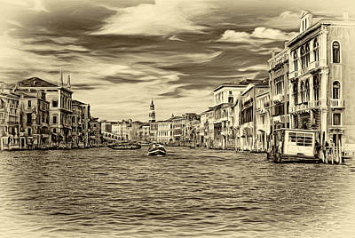 History Channel Digital Art - The Grand Canal - Paint Sepia by Steve Harrington
