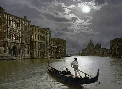 Moonlit Photograph - The Grand Canal Venice By Moonlight by Italian School