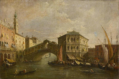 Francesco Guardi Painting - The Grand Canal With The Rialto Bridge by Celestial Images