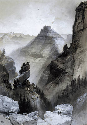 Grand Canyon Drawing - The Grand Canyon - Head Of The Old Hance Trail by Thomas Moran