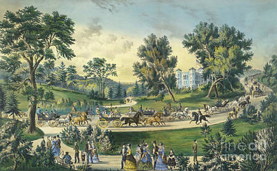 Pleasure Horse Painting - The Grand Drive, Central Park, New York, 1869 by Currier and Ives