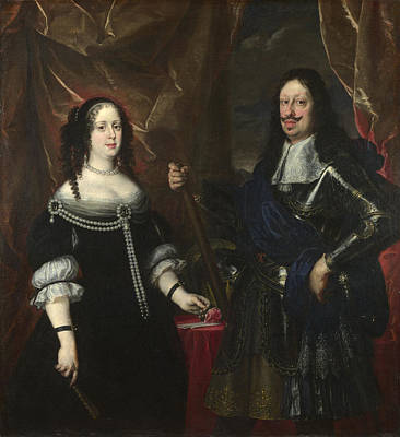 The Grand Duke Ferdinand II Of Tuscany And His Wife Art Print by Justus Sustermans