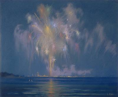 Reflections Of Sky In Water Painting - The Grand Finale by Lendall Pitts