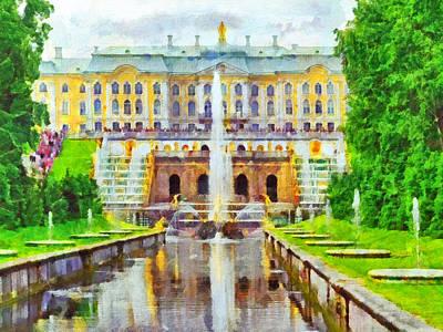 Digital Art - The Grand Palace At Peterhof by Digital Photographic Arts