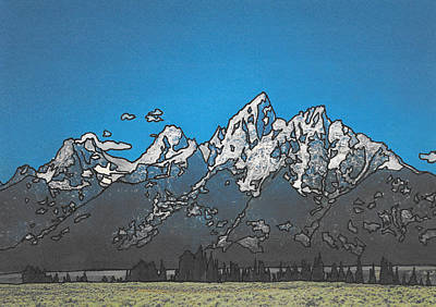 Teton Drawing - The Grand Teton by Jeffcoat Art