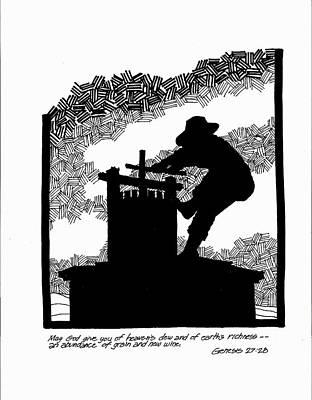 Napa Drawing - The Grapecrusher by Rich Brumfield