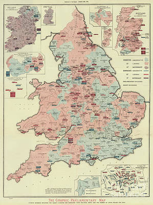 The Graphic Parliamentary Map Of Great Britain Art Print by English School