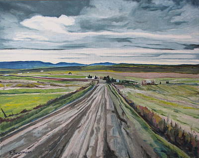 Gravel Road Painting - The Gravel Road Lapatrie Quebec Canada by Francois Fournier