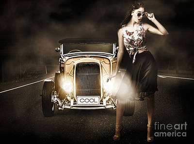 Hotrod Photograph - The Greaser Rockabilly Pinup by Jorgo Photography - Wall Art Gallery