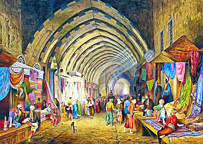 Painting - The Great Bazaar In Istanbul1849 Emanuel Stockler by Munir Alawi