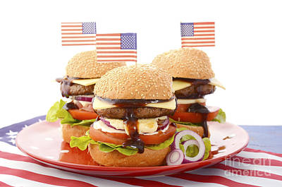 The Great Bbq Hamburger With Flags Print by Milleflore Images