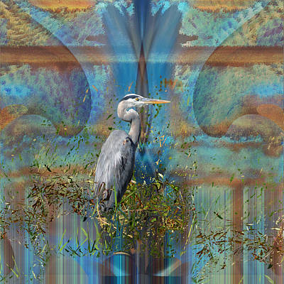 Digital Art - The Great Blue Heron Abstract by rd Erickson