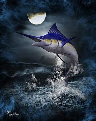 Digital Art - The Great Blue Marlin by Ali Oppy