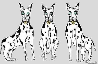 Animals Drawings - The Great Dane Dogs by Ardawan Aladdin