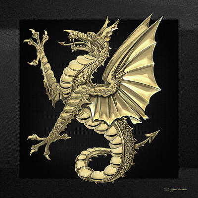 Digital Art - The Great Dragon Spirits - Gold Sea Dragon Over Black Canvas by Serge Averbukh