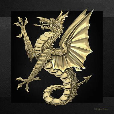 Digital Art - The Great Dragon Spirits - Gold Sea Dragon Over Black Canvas by Serge Averbukh