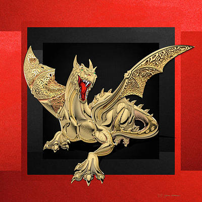 Digital Art - The Great Dragon Spirits - Golden Guardian Dragon On Red And Black Canvas by Serge Averbukh