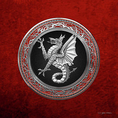 Digital Art - The Great Dragon Spirits - Silver Sea Dragon Over Red Velvet by Serge Averbukh