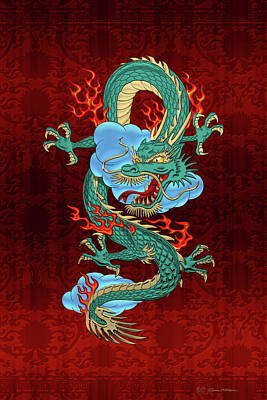 Digital Art - The Great Dragon Spirits - Turquoise Dragon On Red Silk by Serge Averbukh