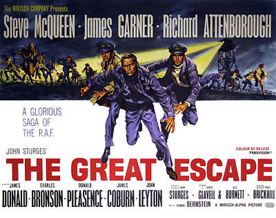 The Great Escape Movie Vintage Lobby Poster  1963 Art Print
