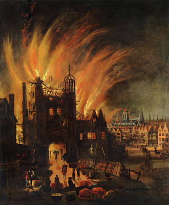 Evening Glow Painting - The Great Fire Of London With Ludgate And Old St Paul's by Mountain Dreams