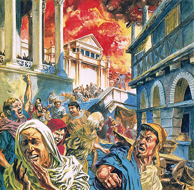 Devastation Painting - The Great Fire Of Rome by English School