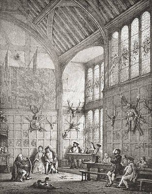 Timber-framed Drawing - The Great Hall, Ockwells Manor, Cox by Vintage Design Pics
