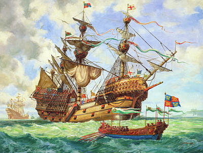 Of Pirate Ship Painting - The Great Harry, Flagship Of King Henry's Fleet by CL Doughty