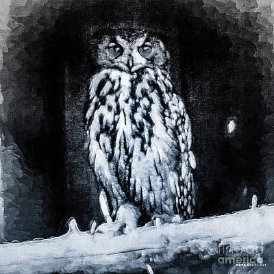 The Great Horned Owl Black White 2 Print by Mona Stut