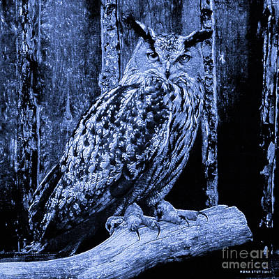 Talons Mixed Media - The Great Horned Owl Indigo Blue by Mona Stut