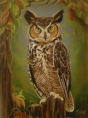 Painting - The Great Horned Owl by Janet Silkoff
