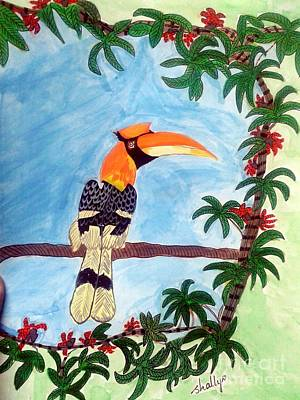Hornbill Painting - The Great Indian Hornbill- Gond Style Painting by Diana Shalini