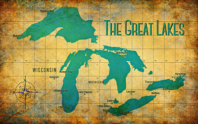 Digital Art - The Great Lakes by Greg Sharpe