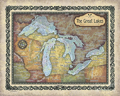 Painting - The Great Lakes Map by Lisa Middleton