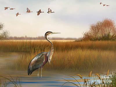 Willow Lake Digital Art - The Great Marsh-jp2859 by Jean Plout