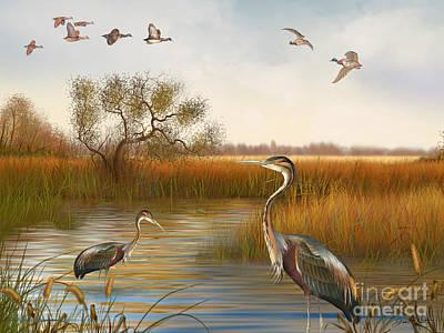 Willow Lake Digital Art - The Great Marsh-jp2860 by Jean Plout