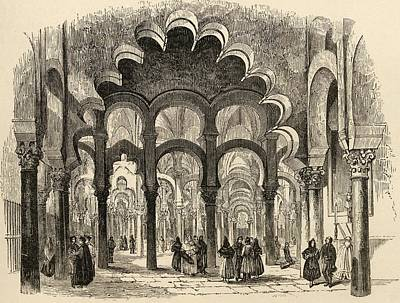Manning Drawing - The Great Mosque Cordoba Spain From The by Vintage Design Pics