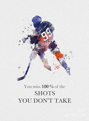 New York Rangers Mixed Media - The Great One Quote by Rebecca Jenkins