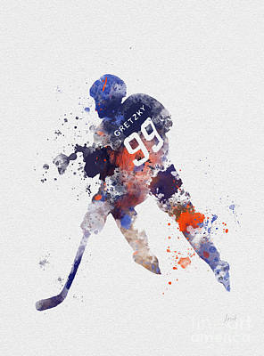 Canadian Sports Mixed Media - The Great One by Rebecca Jenkins
