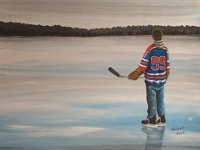 Minor Hockey Painting - The Great One by Ron  Genest
