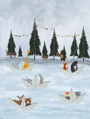 Painting - The Great Paper Boat Race by Bleu Bri