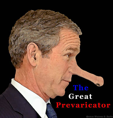 George W Bush Mixed Media - The Great Prevaricator by Warren Sarle