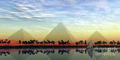 The Great Pyramids And Nile River Art Print